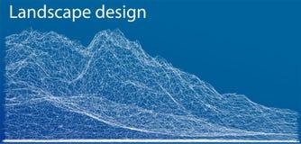 Wireframe poligonalny krajobraz również zwrócić corel ilustracji wektora ilustracji