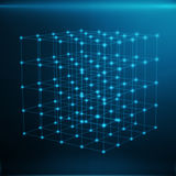 Wireframe Polygonal Element. Cube consisting with Blue Lines and Dots. Blue Background, 3D rendering. Wireframe Polygonal Element. Cube consisting with Blue Royalty Free Stock Photo