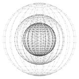 Wireframe polygonal element. 3D sphere with connected dots. 3d vector digital wireframe spherical objects. Three geometric polygonal balls created with lines and Royalty Free Stock Images