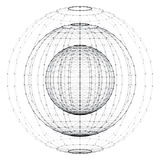 Wireframe polygonal element. 3D sphere with connected dots. 3d vector digital wireframe spherical objects. Three geometric polygonal balls created with lines and Stock Photos