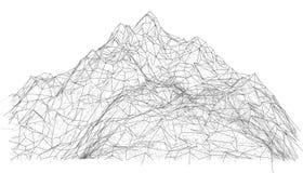 Wireframe polygonal landscape. 3d illustration royalty free illustration