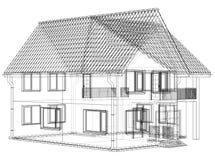 Wireframe projekta rysunek 3D dom - Wektorowa ilustracja ilustracji