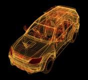 Wireframe que brilla intensamente de un modelo del coche 3d Fotografía de archivo libre de regalías