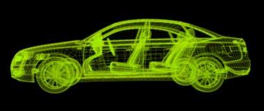 Wireframe que brilla intensamente de un modelo del coche 3d Imagen de archivo libre de regalías