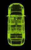 Wireframe que brilla intensamente de un modelo del coche 3d Imágenes de archivo libres de regalías