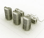 Wireframe residential Royalty Free Stock Photo