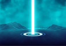 Wireframe retro krajobraz Futurystyczny błękitny neonowego światła portal Magiczna błyskotliwa stardust iluminacja Mruganie energ ilustracja wektor