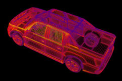 Wireframe rougeoyant d'un modèle du véhicule 3d Photographie stock