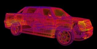 Wireframe rougeoyant d'un modèle du véhicule 3d photos stock