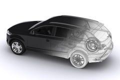 Wireframe samochód Zdjęcia Royalty Free