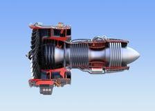 Wireframe seccionado transversalmente del ` s del motor a reacción de Turboventilador aislado en fondo azul