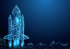 Wireframe space rocket launch sign mesh from a starry. Royalty Free Stock Photography
