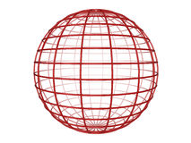 Wireframe sphere. Illustration of a red 3d wireframe sphere, on a white background Stock Photo