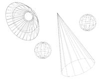 WireFrame Spheres Royalty Free Stock Photography