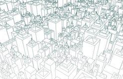 Wireframe stad vektor illustrationer