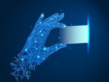 wireframe Struktur Eine Hand zieht aus oder hebt einen Chip, eine Karte oder eine Visitenkarte auf Abstrakte polygonale Illustrat stock abbildung