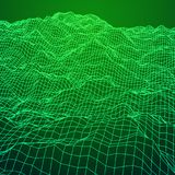 Wireframe terrain background. Wireframe terrain vector background. Cyberspace landscape grid technology illustration Royalty Free Stock Photo