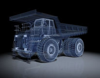 Wireframe Truck. Wire Frime Super Truck in 3D Royalty Free Stock Photo