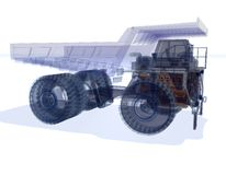 Wireframe Truck. Wire Frime Super Truck in 3D Royalty Free Stock Images