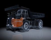 Wireframe Truck. Wire Frime Super Truck in 3D Stock Image
