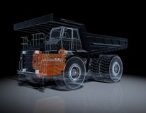 Wireframe Truck. Wire Frime Super Truck in 3D Stock Photography