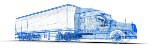 Wireframe truck Stock Photography