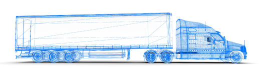 Wireframe truck Stock Photo