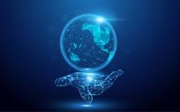 Wireframe une carte de globe avec les icônes sociales signent en main la maille d'un étoilé sur le fond bleu illustration de vecteur