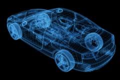 Wireframe van een auto 3d model Royalty-vrije Stock Afbeeldingen
