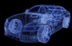 Wireframe van een auto 3d model Stock Afbeeldingen