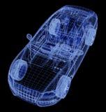 Wireframe van een auto 3d model Stock Fotografie