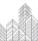 Wireframe vektorbyggnader Arkivfoto