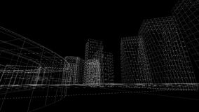 Wireframe view of some buildings. With a black background vector illustration