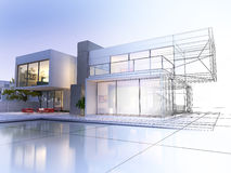 Wireframe villa. 3D rendering of a luxurious villa with contrasting realistic rendering and wireframe Stock Photos