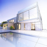Wireframe villa. 3D rendering of a luxurious villa with contrasting realistic rendering and wireframe Stock Photography