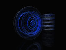 Wireframe of a wheel. Glowing neon wireframe of a wheel Royalty Free Stock Images