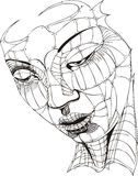 Wireframe Woman Face Stock Photography