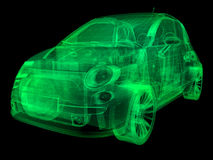 Wireframe x-ray illustration sub-compact car Stock Photography