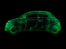 Wireframe x-ray illustration sub-compact car Stock Photo