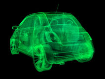 Wireframe x-ray illustration sub-compact car Royalty Free Stock Image