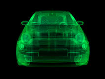 Wireframe x-ray illustration sub-compact car Royalty Free Stock Photos