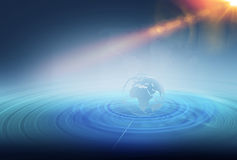 Wireframe ziemi kula ziemska wśrodku wielokrotności rozszerza linie Zdjęcia Stock