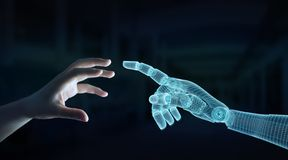 Wireframed Robot hand making contact with human hand on dark 3D rendering. Wireframed Robot hand making contact with human hand on dark background 3D rendering royalty free illustration