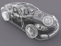 wireframedesign för bil 3D royaltyfri illustrationer