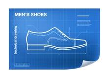 Wireframeillustratie met schoen die op de blauwdruk trekken Stock Afbeelding