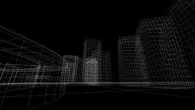 Wireframemening van sommige gebouwen Stock Afbeelding
