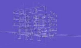 Wireframes azules exteriores del edificio del fondo, representación del diseño, arquitectura ilustración del vector
