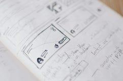 Wireframes escritos à mão de UX imagens de stock