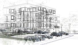 Wireframes exteriores del edificio, representación del diseño, arquitectura stock de ilustración