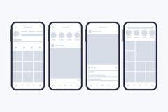 Wireframes of social network pages on smartphone screen. Mockup. Profile page. Frames for photo. Vector illustration. vector illustration